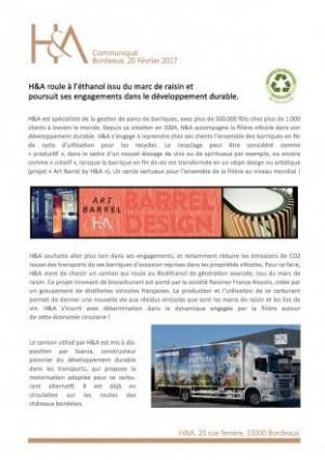 H&A funziona a bioetanolo - Comunicato stampa
